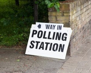 Way in Sign at Polling Station