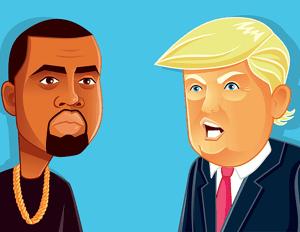 Kanye West and Trump Cartoon