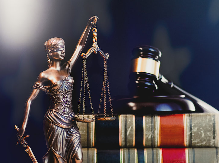 gavel with US flag background