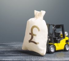 Forklift with Money Bag