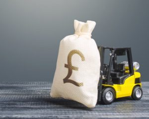 Forklift with Money Bag