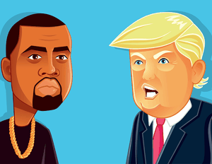Kanye West and Trump Cartoon