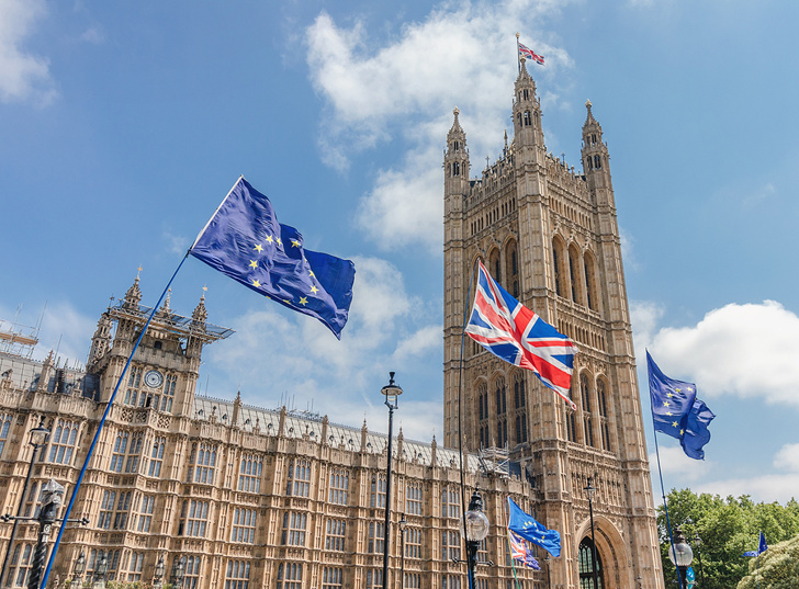 EU Flags Flying at Parliament in London
