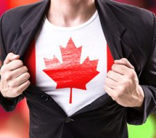 Man Wearing Canadian Flag Under Suit