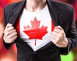 Man Wearing Canadian Flag Under Suit