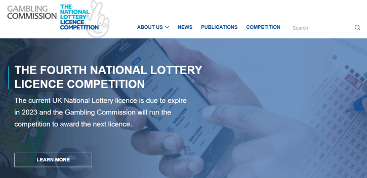 National Lottery licence Competition Website Screenshot