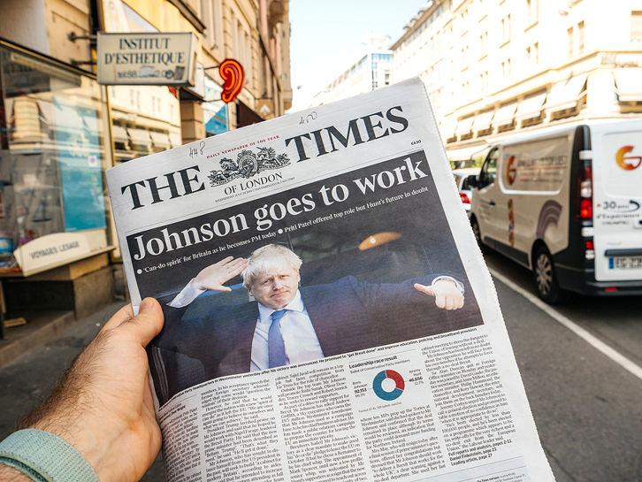 Boris Johnson Prime Minister Times Newspaper