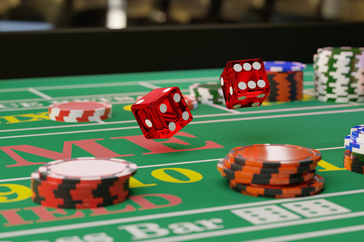 Casino Dice on Craps Table
